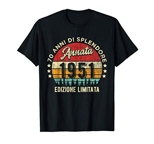 70° Compleanno Annata 1951 Edizione Limitata 70 Anni Regalo Maglietta