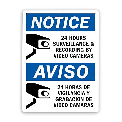 Señal de advertencia,Vigilancia y grabación las 24 horas por cámaras de video Aviso 24 Horas De Vigilance Y Grabacion De Video Camaras,Señal de advertencia de metal de aluminio de estaño 12x16 Inch