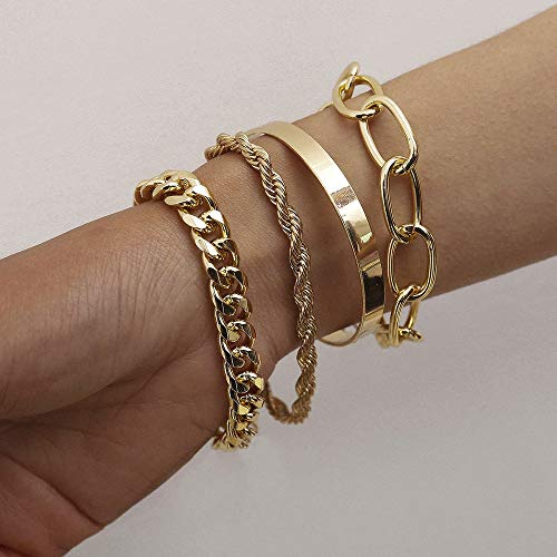 fxmimior Dainty Boho Gold Silver Chain Bracelets Set for Women Adjustable Fashion Beaded Chunky Flat Cable Chain Punk Bracelets Jewelry for Women Girls Gift Set of 4 (Gold)