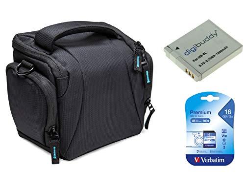 Bodyguard Sparset Kameratasche Tasche schwarz + Ersatzakku NB-6L + 16GB SD Karte für Canon PowerShot SX540 HS, SX530 HS, SX520 HS