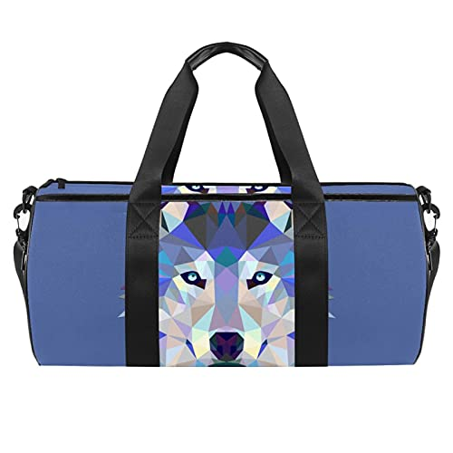 Wolf Hipster Bolsa de gimnasio para hombres y mujeres Bolsas de fin de semana, bolsa de viaje deportiva con bolsillo impermeable
