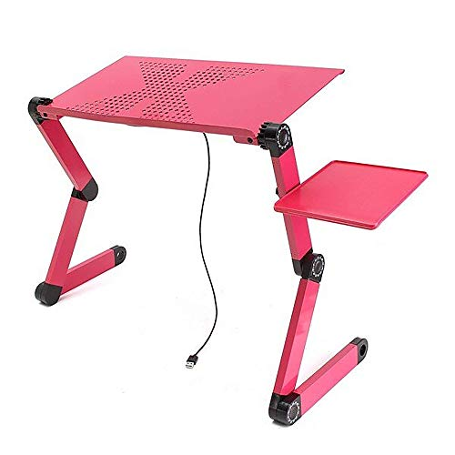 Xhtoe Aluminum 6-angle Adjustable Ventilated Laptop Stand Portable Adjustable Foldable Laptop Notebook PC Desk Table Laptop Stand Lifter Computer Stand (Size:One Size; Color: Red)