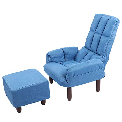 Ejoyous Simple Modern Armchair Set Contemporary Club Chair with Ottoman for Home Furniture Dining Living Room Guestroom Bedroom Sofa Chairs, Blue