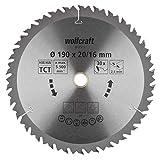 Wolfcraft 6735000 1 Lame de Scie Circulaire Ø 190 Mm, Ct, Alésage 20/16 Mm, 30 Dents, Surface Poncée, Denture Sablée Et Alternée argent