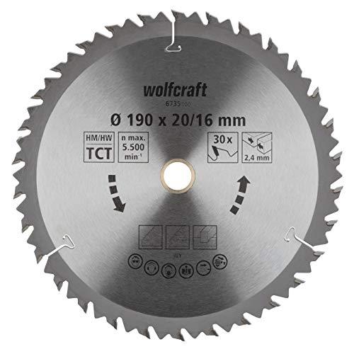 wolfcraft 6735000 | Handkreissägeblatt HM | Serie braun | 30 Zähne | ø190mm