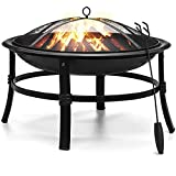 Fire Pit 26'' Outdoor Fire Pits Wood Burning Fire Pit Steel BBQ Grill Firepit Bowl with Mesh Spark Screen Cover Log Grate Poker for Camping Backyard Patio Garden Picnic Bonfire Beaches Park