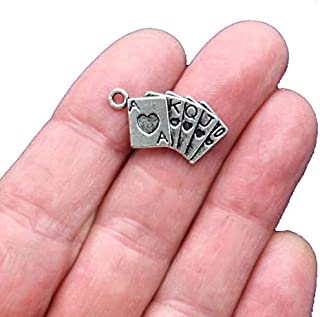 10 Card Charms Antique Silver Tone Ace King - SC1698