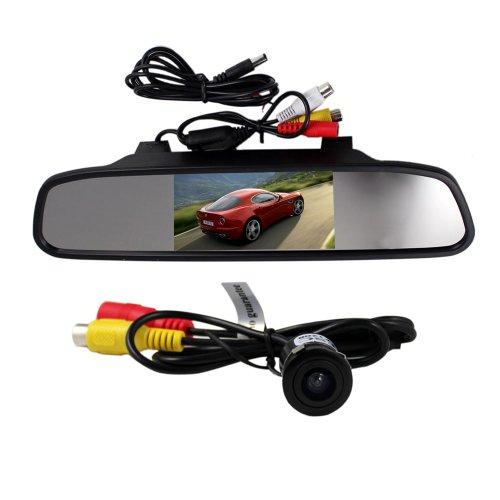 BW Rétroviseur LCD TFT 4,3 pouces avec écran LCD et caméra de recul étanche pour voiture à vision large 135 degrés