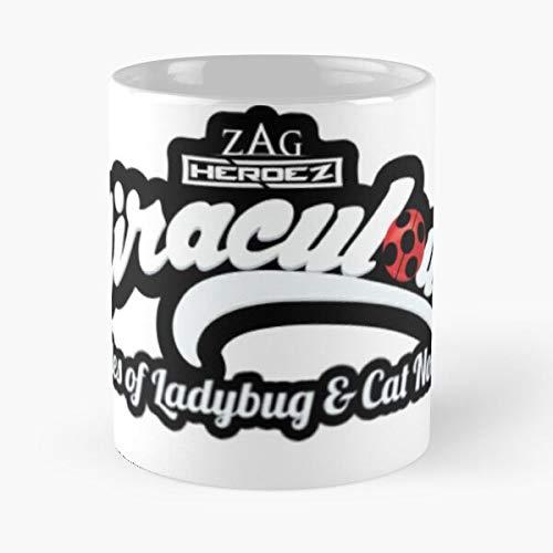 Tales Miraculous Cat Of Heroez Ladybug Zag & Best 11 Ounce Ceramic Coffee Mug ! Customize
