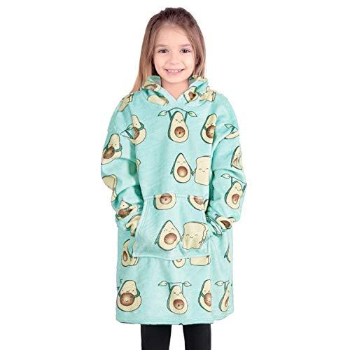 Segorts Hoodie Sweatshirt Kinder Decke Kapuzenpullover Riesen Poncho Übergroße Plüsch Pullover mit Kapuze Super Weich Einheitsgröße mit großer Fronttasche Geschenk Warm Süß für Mädchen Jungen