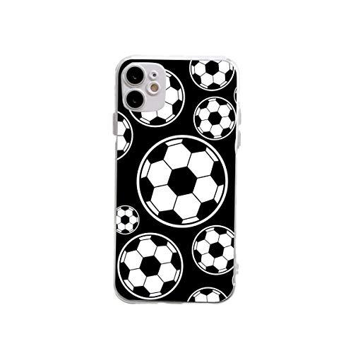 XUJIAHUI Funda transparente para iPhone 12 y 12 y iPhone 12 Pro Cartoon Football Funda protectora a prueba de golpes Funda de goma suave para teléfono de tres tamaños