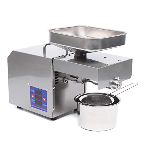 Commercial Automatic Oil Press Machine 600W Hot Cold Oil Press Nuts Seeds Oil Presser Mill Pressing Machine Sesame Nuts Seeds Peanut Oil Extractor Expeller Oil Squeezer Machine (AC 110V 600W)