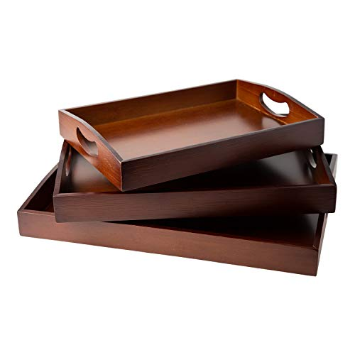 Bamboo Serving Trays with Handle – Set of 3 Wooden Trays That Nest – Large, Medium and Small Tray for Food, Ottoman Décor & More – 100% Eco-Friendly Bamboo Trays for Breakfast - Brown