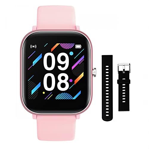 HYK El Reloj Inteligente es Adecuado para teléfonos iOS Android, Hombres y Mujeres, Bluetooth, Monitor de frecuencia cardíaca Impermeable, rastreador de Ejercicios, Reloj Deportivo(A)
