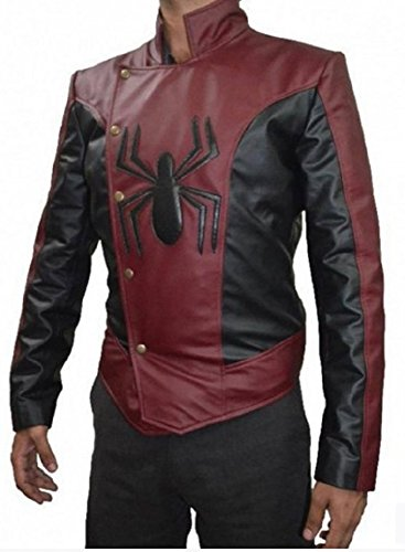 Parevaas Mens Last Stand Peter Parker Red and Black Leather Jacket (Large)
