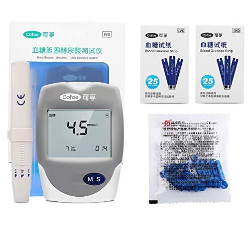Blutzuckermessgeräte, 3 in 1 Multifunktions-Blutzucker, Harnsäure, Cholesterin-Monitor, mit Teststreifen Analysieren, for Senioren, Schwangere Frau, Patient (Color : A (Blood Glucose Test Strip))