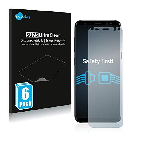 savvies Protector Pantalla Compatible con Samsung Galaxy S8 (6 Unidades) Pelicula Ultra Transparente