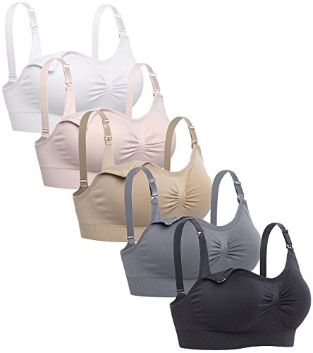 Lataly Womens Sleeping Nursing Bra Wirefree Breastfeeding Maternity Bralette Color Pack of 5 Size M
