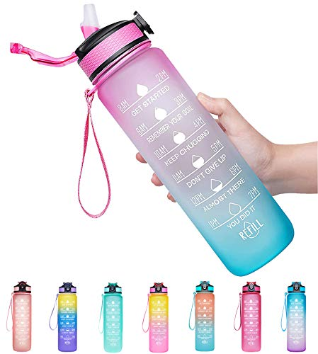 Giotto 32oz Large Leakproof BPA Free Drinking Water Bottle with Time Marker & Straw to Ensure You Drink Enough Water Throughout The Day for Fitness and Outdoor Enthusiasts-Ombre Fuschia Green