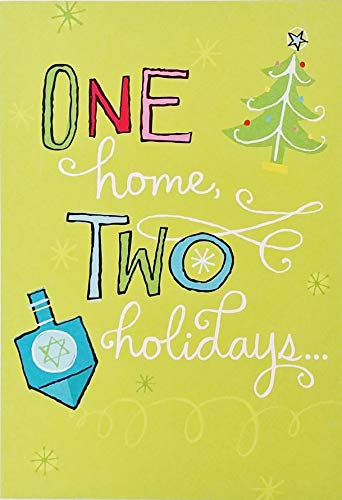 One Home - Two Holidays - A Million Reasons To Celebrate - Blended Interfaith Family Christmas Hanukkah Christian Jewish Chrismukkah Greeting Card