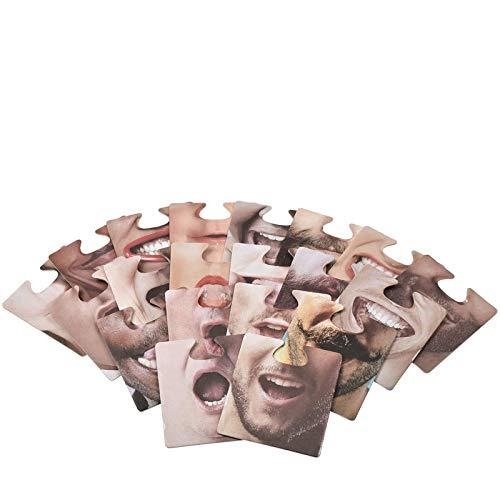Lynlon 20 Stück Face Mats | Aufsetzbare Untersetzer | mit 40 lustigen Motiven | Face Mats Bierdeckel