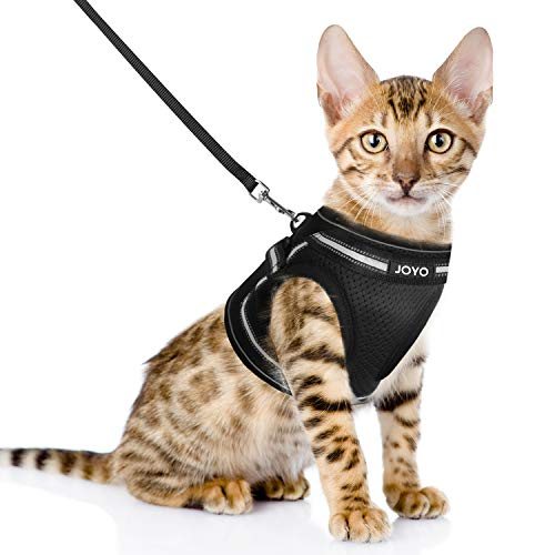 JOYO Cat Harness and Leash for Walking Escape Proof, Adjustable Cat Vest Harness Easy Control Cat Leash and Harness Set with Reflective Strip for Small and Medium Cats (Small)