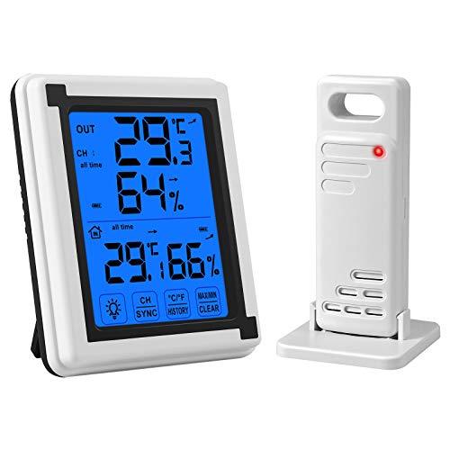 CAMWAY Termometro Igrometro Digitale, Termoigrometro Professionale, Monitor di umidità per Termometro da Esterno Interni, Misuratore di umidità e Temperatura con Retroilluminazione Touchscreen
