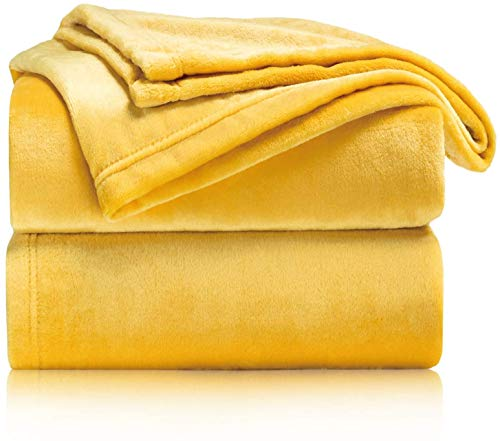 TIENDA EURASIA Mantas para Sofá de Terciopelo - Material 100% Microfibra - Tacto Suave Sedalina (Amarillo, 160 X 220 CM)