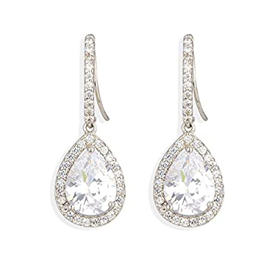 CZ Teardrop Earrings for Wedding - Sterling Silver Cubic Zirconia Crystal Rhinestone Drop Earrings Womens Bridal Jewelry for Bride Bridesmaids Mother of Bride Gift Party Prom Pageant Earring for Girls
