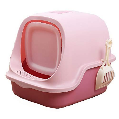Caja De Arena para Gatos Baño para Gatos Recogedor De Arena para Gatos con Cúpula De Fácil De Limpiar Encapuchado Bote De Basura Baño De Gatito Filtrar con Mango A Prueba,Rosado