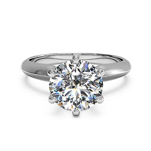 JewelsForum 3.00 Quilates Anillo De Compromiso Solitario De Circonita Cúbica Diamante Simulado Anillo De Aniversario De Bodas De Plata Esterlina Chapado En Oro Blanco De 14 K Para Mujer