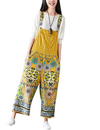 Youlee Damen Sommer Breites Bein Hose Denim Latzhose Overall Hosen Style 9 Yellow