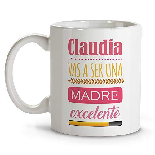Taza Mama Primeriza Personalizada con Nombre/Texto. Regalos Dia de la Madre Personalizados. Varios Diseños y Colores de Interior. Vas A SER UNA Madre