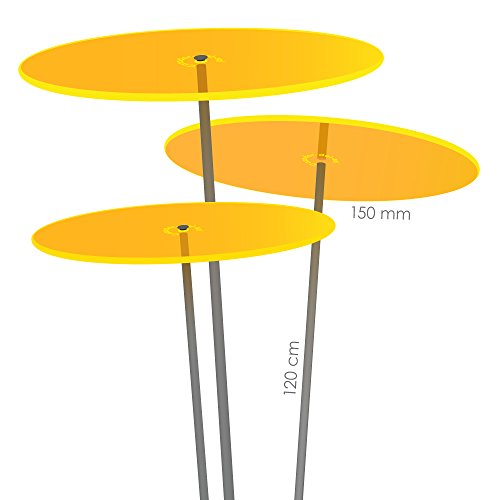 Cazador-del-sol ® Medio | tres | 3 Stück Sonnenfänger-Scheiben gelb 1,20 Meter hoch - das Original