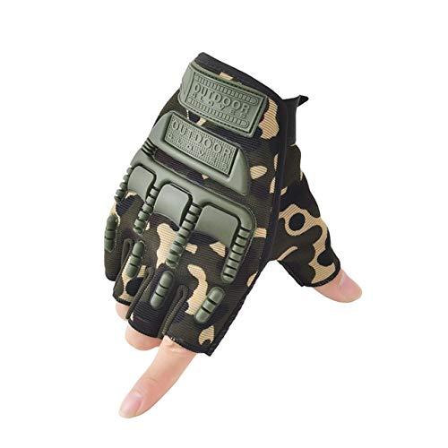 Guantes sin Dedos, Mitones de Camuflaje para Fitness, Motocicleta Antideslizante para Hombre, Guantes de Medio Dedo para Mujer y Hombre-A14-XL