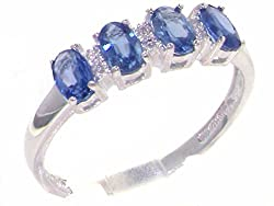Made in England in our own traditional workshops by experienced family jewellers Natural Sapphire & Real Diamonds Completely Solid 10ct White Gold, purity .417 Tested, Approved and Fully Hallmarked by the Dublin Assay Office Sent to you in a Deluxe P...