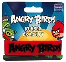 Angry Birds Red with White or Black Letters Rubber Bracelet or Black with White Letters