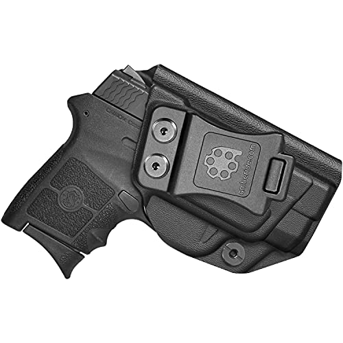 Amberide IWB KYDEX Holster Fit: Smith & Wesson M&P Bodyguard 380 Auto & Integrated Laser   Inside Waistband   Adjustable Cant   US KYDEX Made (Black, Left Hand Draw (IWB))