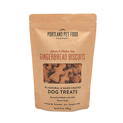 Crafted by Humans Loved by Dogs Portland Pet Food Company Grain-Free & Gluten-Free Biscuit Dog Treats (1-Pack 5 oz) — Gingerbread Flavor — All Natural, Human-Grade, Made in The USA