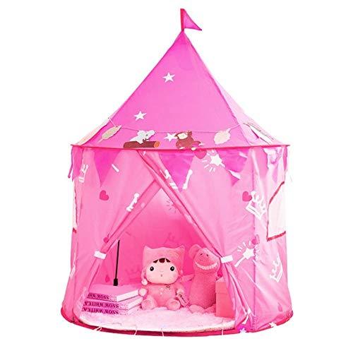JSJJAET Tienda de Juego Kids Play Tent Casa Niños Niños Teepee portátil Carpas Carpas niños de Navidad de cumpleaños Regalo 105 * 135 cm (Color : Pink)