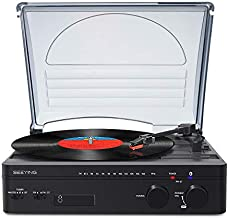 Record Player Bluetooth Turntable with Stereo Speakers Portable Belt-Driven Nostalgic LP Vinyl Record Player with FM Stereo Radio Line Output Headphone Jack