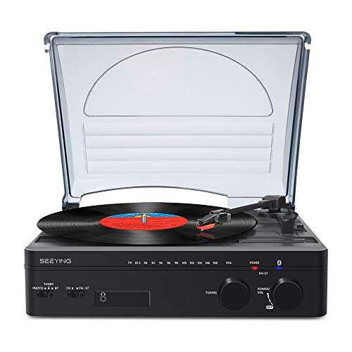Record Player with Speakers Bluetooth Turntable with FM Stereo Radio Belt-Driven Vinyl Record Player 3-Speed Vintage Portable LP Phonograph Player