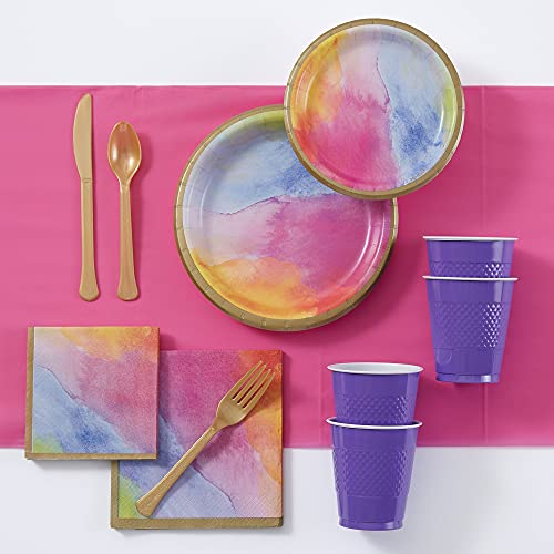 Party City Watercolor Rainbow Tableware Party Supplies for 16 Guests, 109 Pieces, Includes Plates, Napkins, Utensils, and Cups