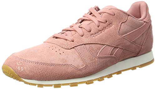 Reebok Damen Classic Leather Clean Exotics Gymnastikschuhe, Pink (Sandy Rose/Chalk/Gum), 38 EU