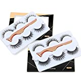 MAANGE 6 Styles False Eyelashes Handmade 3D & 5D Fake Eyelashes Reusable Eyelashes for Natural Look with Rose Golden Lash Applicator - 6 Pairs