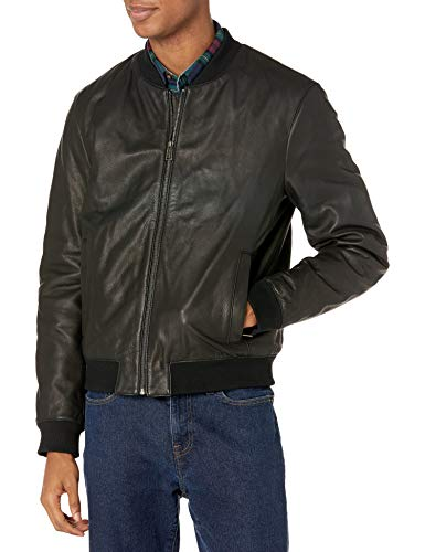 Cole Haan Men's Leather Quilted Lined Varsity Jacket, Black, Large