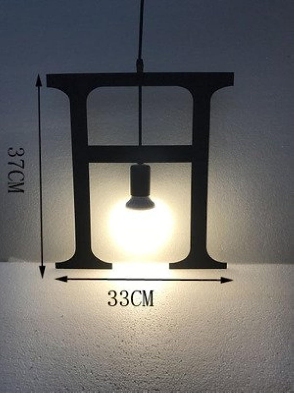 Luckyfree Einfaches Schreiben einzelne Eisen Pendelleuchte Zimmer Bar Cafe Restaurant Küche Flur Lampen Deckenleuchte Kronleuchter, H