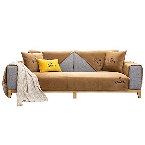YUTJK Funda de sofá de Esquina,Fundas de Asiento de sofá de Tela para Sala de Estar,Funda Protectora de Muebles,Posavasos de sofá de Terciopelo Suave,para sofá de 1/2/3/4 plazas,marrón