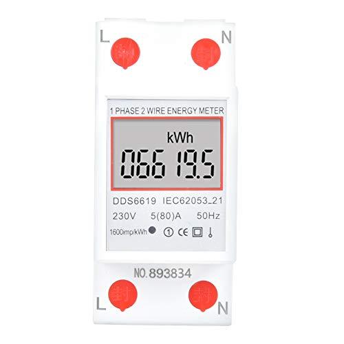 Medidor de energía eléctrica monofásico inteligente DDS6619-005 Medidor de potencia de riel DIN 2p Probadores de voltaje de 230 V