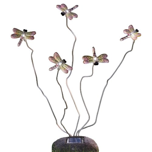 Konstsmide Assisi 7629-000 Solarmotivleuchte Libelle / B: 15cm H: 53cm / 5 weiße LED / Steinoptik / Kunststoff